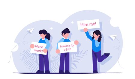 People stand with posters in search of work. Unemployment concept. Modern flat illustration.