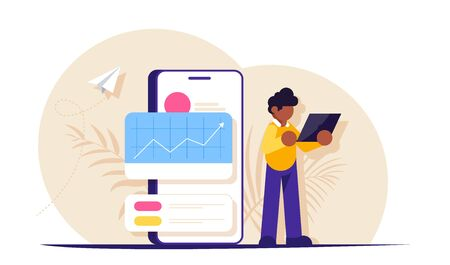 Concept of data analysis at the launch of a new startup. People with a laptop in the background of a mobile phone. Modern flat vector illustration. Ilustração