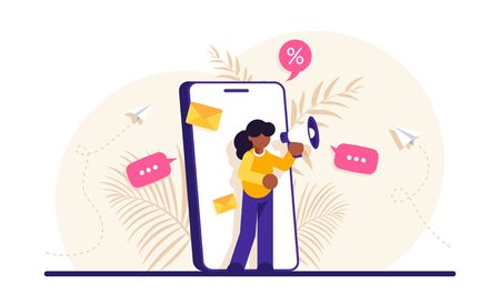 Concept of mobile advertisement, digital promotion, social media marketing or SMM. Woman with a megaphone on her phone screen. Modern flat vector illustration. Vettoriali