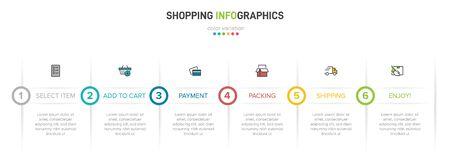 Concept of shopping process with 6 successive steps. Six colorful graphic elements. Timeline design for brochure, presentation, web site. Infographic design layout. Vektoros illusztráció