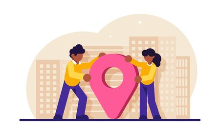 Concept of city location, travel guide, sightseeing, trip navigation. Man and woman standing on street with downtown buildings and map pin. Modern flat vector illustration. 일러스트