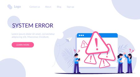 System error concept. People stand near the open browser tab with an error. Modern flat vector illustration. Иллюстрация