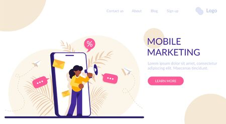Concept of mobile advertisement, digital promotion, social media marketing or SMM. Woman with a megaphone on her phone screen. Modern flat vector illustration Vettoriali