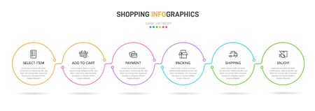 Concept of shopping process with 6 successive steps. Six colorful graphic elements. Timeline design for brochure, presentation, web site. Infographic design layout Vektorové ilustrace