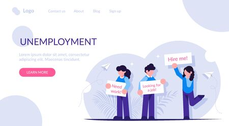 People stand with posters in search of work. Unemployment concept. Modern flat vector illustration. Vecteurs