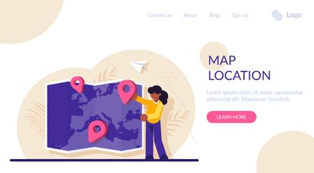 Concept of choosing trip destination, international touristic service for travelling abroad, location for tourism. Woman placing location mark or pin on world map. Modern flat vector illustration