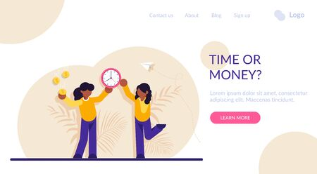 Concept of time or money, work-life balance. Woman resolving dilemma. Making decision or choosing between two options or alternatives, clock and dollar coins. Modern flat illustration
