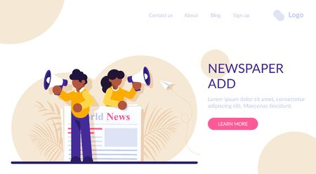 Concept of commercial, news broadcasting, advertisement, promotion in periodical publication. Person with megaphone or bullhorn promoting product on newspaper. Modern flat illustration