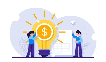 Concept of business idea of increasing profit, income, earnings, revenue. Businesswoman, glowing lightbulb with dollar coin inside and document with table. Modern flat illustration