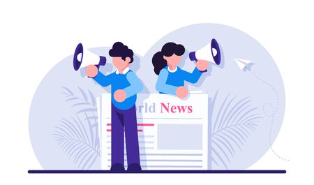 Concept of commercial, news broadcasting, advertisement, promotion in periodical publication. Person with megaphone or bullhorn promoting product on newspaper. Modern flat illustration.