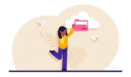 Concept of cloud service for internet storage of digital data. Files organization, organizing information in online archive. Woman holding pink folder. Modern flat illustration.