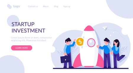Startup investment concept. Venture capital financing, financial support of innovative technologies. Businessman or investor inserting dollar coin into spaceship. Modern flat illustration. Vectores