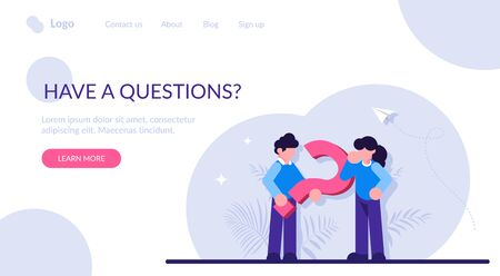 Have a question concept. Man and a woman near a large question mark. Discussion of issues. Modern flat illustration.