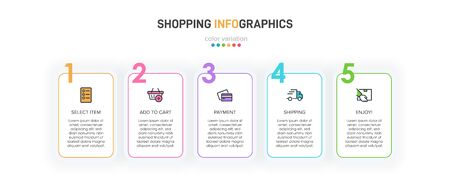 Concept of shopping process with 5 successive steps. Five colorful graphic elements. Timeline design for brochure, presentation, web site. Infographic design layout Ilustração