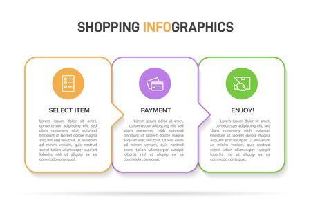 Concept of shopping process with 3 successive steps. Three colorful graphic elements. Timeline design for brochure, presentation, web site. Infographic design layout Ilustração