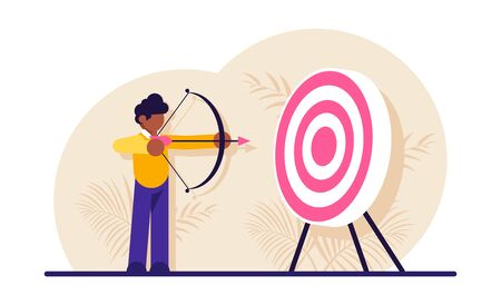 Concept of market target, business goal, achievement strategy, attaining financial objective. Archer or bowman holding bow and arrow, aiming and shooting. Modern flat illustration.