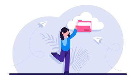 Concept of cloud service for internet storage of digital data. Files organization, organizing information in online archive. Woman holding pink folder. Modern flat illustration.