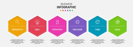 Concept of arrow business model with 6 successive isometric steps. Six colorful graphic elements. Timeline design for brochure, presentation. Infographic design layout. Archivio Fotografico - 150560643