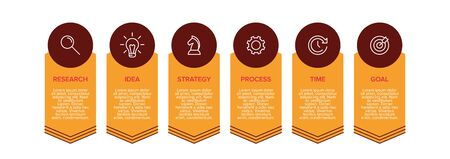 Concept of arrow business model with 6 successive isometric steps. Six colorful graphic elements. Timeline design for brochure, presentation. Infographic design layout. 일러스트