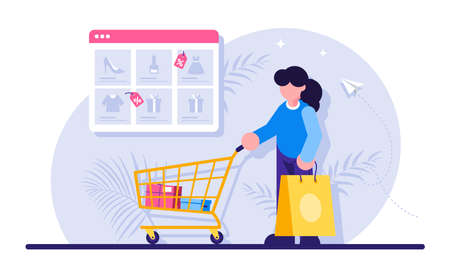Online shopping concept. Woman with a package and a trolley from the supermarket in the background of the browser window with a catalog of goods. Modern flat illustration