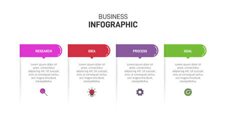 Infographic design with icons and 4 options or steps. Thin line. Infographics business concept. Can be used for info graphics, flow charts, presentations, web sites, banners, printed materials