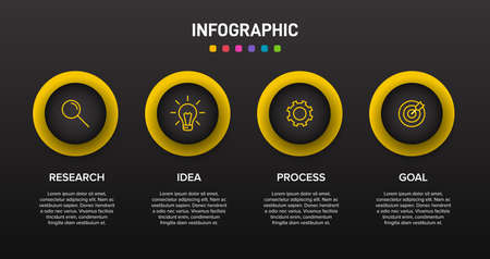 Infographic design with icons and 4 options or steps. Thin line vector. Infographics business concept. Can be used for info graphics, flow charts, presentations, web sites, banners, printed materials Archivio Fotografico - 150621062