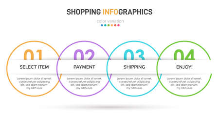 Concept of shopping process with 4 successive steps. Four colorful graphic elements. Timeline design for brochure, presentation, web site. Infographic design layout