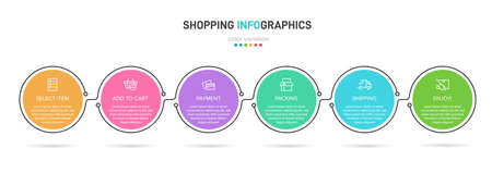 Concept of shopping process with 6 successive steps. Six colorful graphic elements. Timeline design for brochure, presentation, web site. Infographic design layout