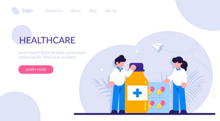 Drugstore and pharmacist concept. Collection of pharmacy drug in bottle and box. Medication concept. Medicine pill for disease treatment. Modern flat illustration.