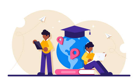 Concept of global education. Boy standing in front of books and globe with cap. Study abroad, international student exchange program. Modern flat illustration.