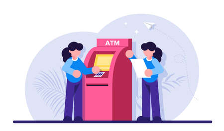 Concept of automated teller machine. Woman use ATM. Financial transaction, banking services, cash withdrawal, bank deposit access. Modern flat illustration. Vektoros illusztráció