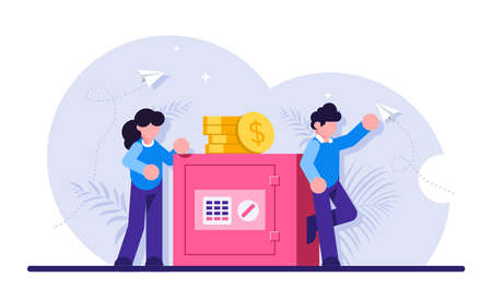 Concept of secure money storage. Businessman and woman leaning on safe box with electronic lock. Safety of bank account, deposit protection, banking services. Modern flat illustration.