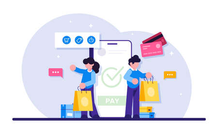 Concept of Online commerce. E-business or e-commerce technology. Mobile app for payment with credit card and web banking customer. Modern flat illustration. Иллюстрация