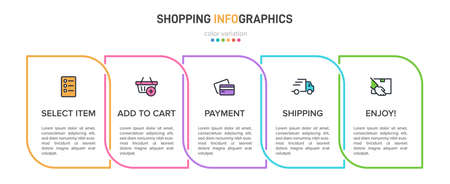 Concept of shopping process with 5 successive steps. Five colorful graphic elements. Timeline design for brochure, presentation, web site. Infographic design layout Illustration