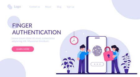 Finger Authentication Concept. Fingerprint screening security system, fraud detection, Biometric access control. Modern flat illustration