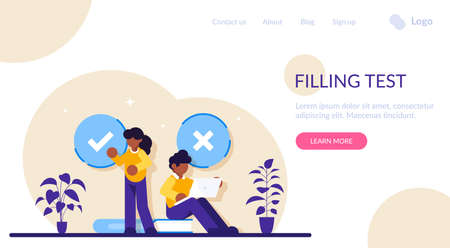 Filling test concept. Customer Experiences and Satisfaction. Woman and Man putting Check Mark. Filling Test in Customer Survey Form. Modern flat illustration 일러스트