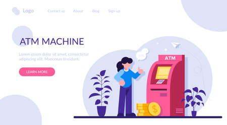 ATM machine concept. Man perform financial transactions using ATM. People are waiting near ATM machine, Queue at the ATM. Modern flat illustration