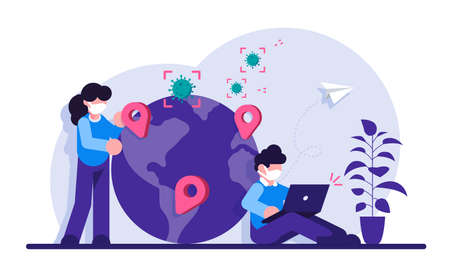 Coronivirus Distribution News Concept. A man and a woman near the planet with pins over the centers of the virus spread. Modern flat illustration