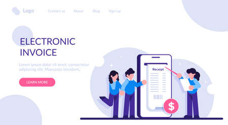 Concept of electronic invoice. Digital bill for mobile internet banking. Online transaction via smartphone. Modern flat illustration.
