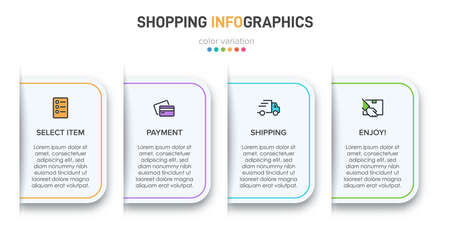 Concept of shopping process with 4 successive steps. Four colorful graphic elements. Timeline design for brochure, presentation, web site. Infographic design layout.