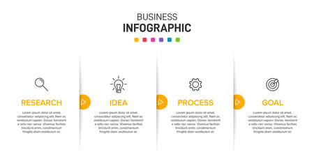 Infographic design with icons and 4 options or steps. Thin line. Infographics business concept. Can be used for info graphics, flow charts, presentations, web sites, banners, printed materials.