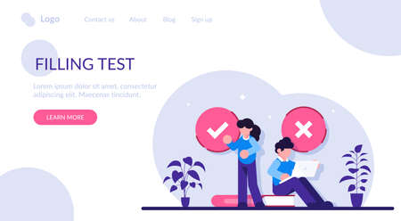 Filling test concept. Customer Experiences and Satisfaction. Woman and Man putting Check Mark. Filling Test in Customer Survey Form. Modern flat illustration.  イラスト・ベクター素材