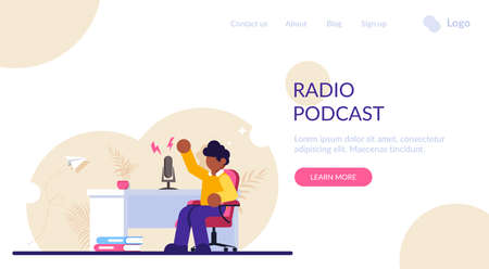 Concept of Online radio presenter, streaming. Man podcaster in podcast studio, broadcaster at workspace isolated cartoon character. Modern flat illustration.