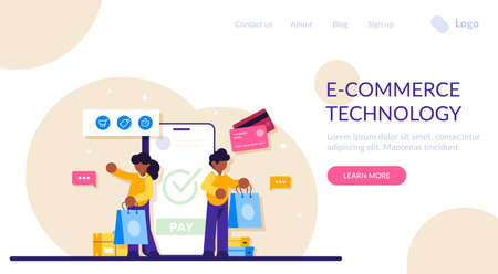 Concept of Online commerce. E-business or e-commerce technology. Mobile app for payment with credit card and web banking customer. Modern flat illustration. 写真素材
