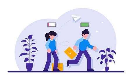 Business concept. Cheerful businessman running with full of energy battery icon and tired businessman slowly walking with low energy battery icon. Modern flat illustration. 写真素材