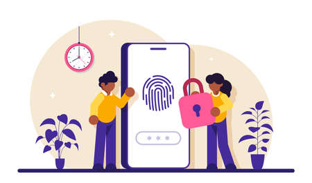Finger Authentication Concept. Fingerprint screening security system, fraud detection, Biometric access control. Modern flat illustration.