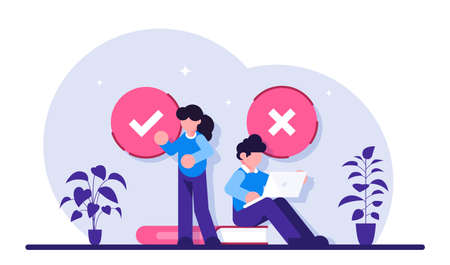 Filling test concept. Customer Experiences and Satisfaction. Woman and Man putting Check Mark. Filling Test in Customer Survey Form. Modern flat illustration. 写真素材