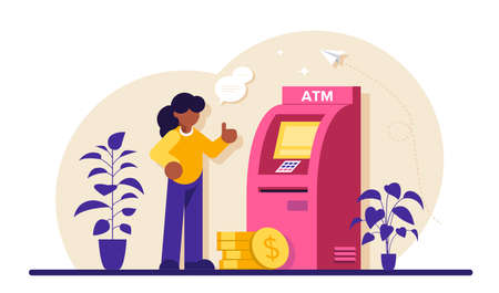 ATM machine concept. Man perform financial transactions using ATM. People are waiting near ATM machine, Queue at the ATM. Modern flat illustration.