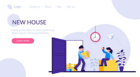 New house concept. A young family brings boxes into a purchased apartment or house. Buying a living space. Rent a property. Modern flat illustration. 写真素材