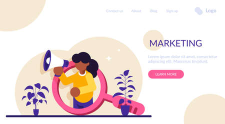 Marketing concept. Promotion of goods or services. A girl in the background of a large magnifying glass speaks in a loudspeaker. Modern flat illustration.